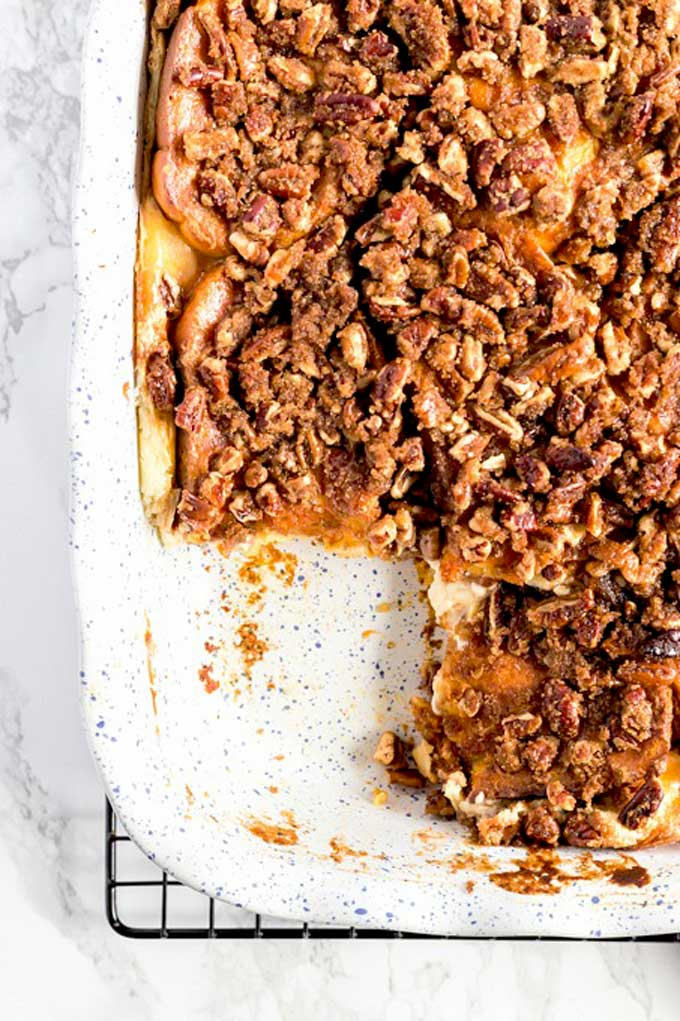 Pumpkin French Toast Bake with Cream Cheese Filling