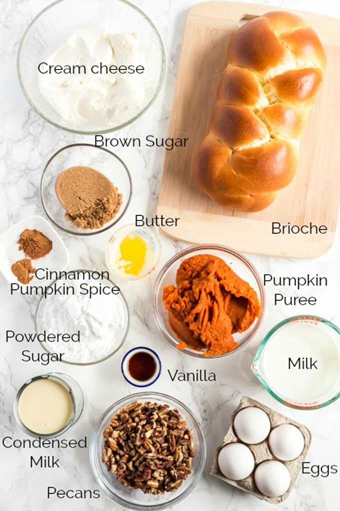 Ingredients to make Pumpkin French toast bake