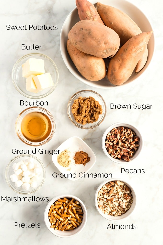 Ingredients to make this sweet potato casserole on a marble surface