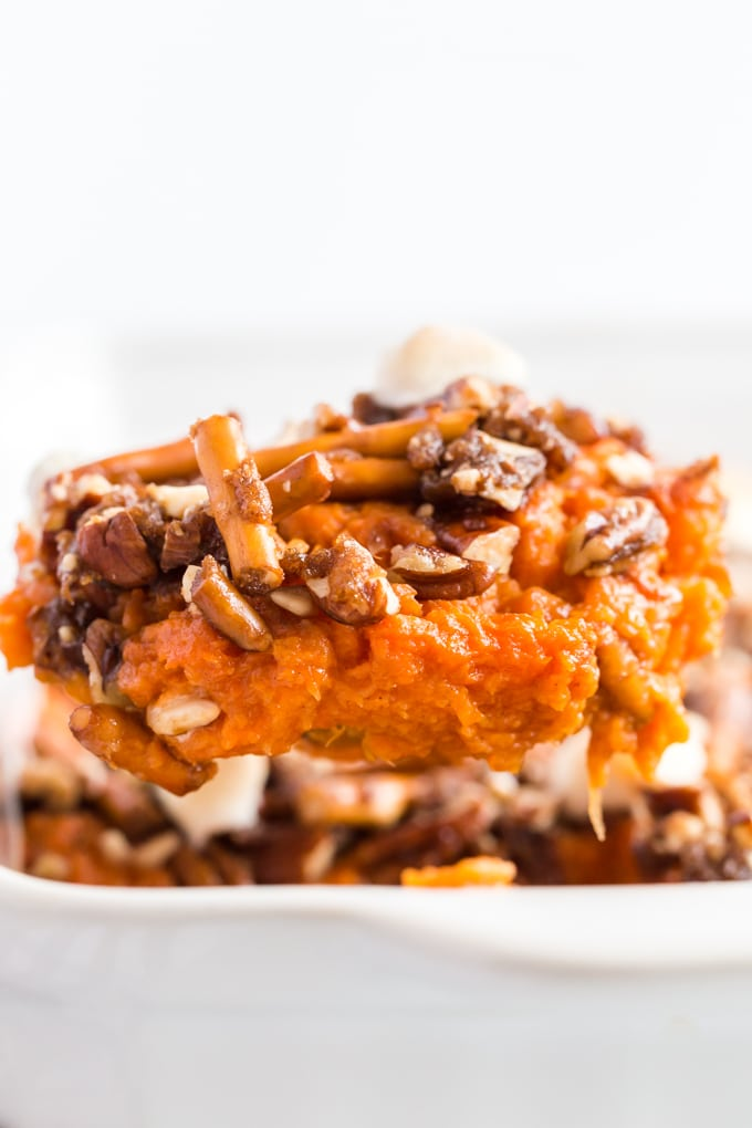 Big scoop of sweet potato side dish