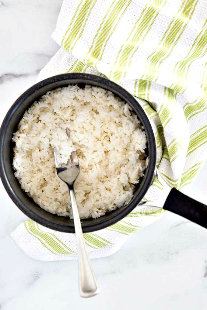 Cooked white rice in a pot