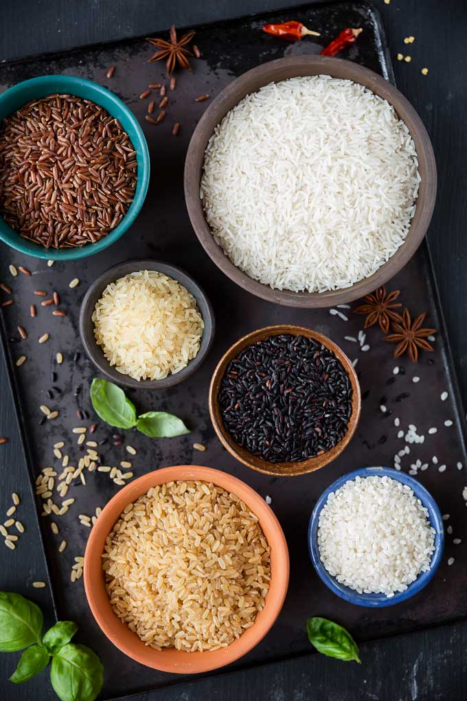 Bowls of different types of rice.