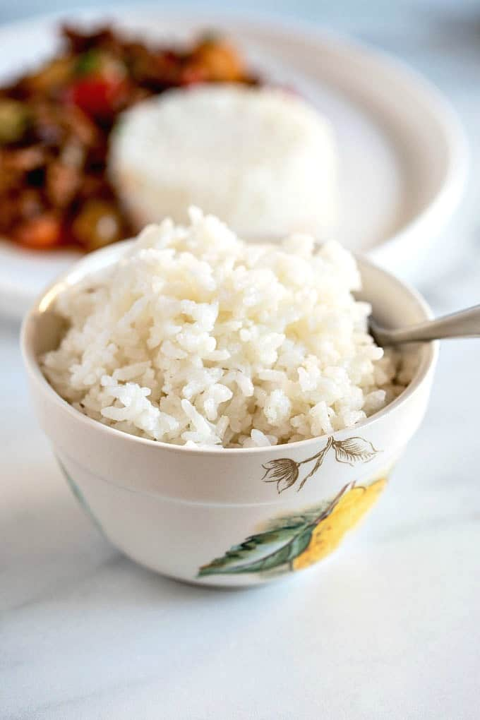 A small bowl of cooked rice.