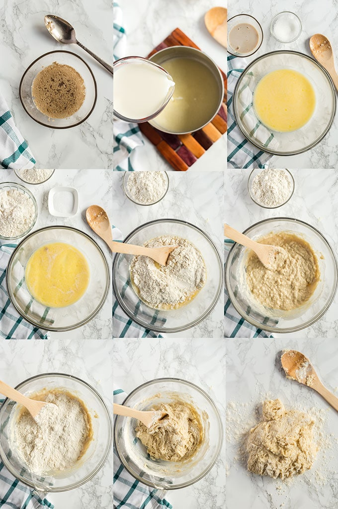 Step By step photo collage for making bread rolls