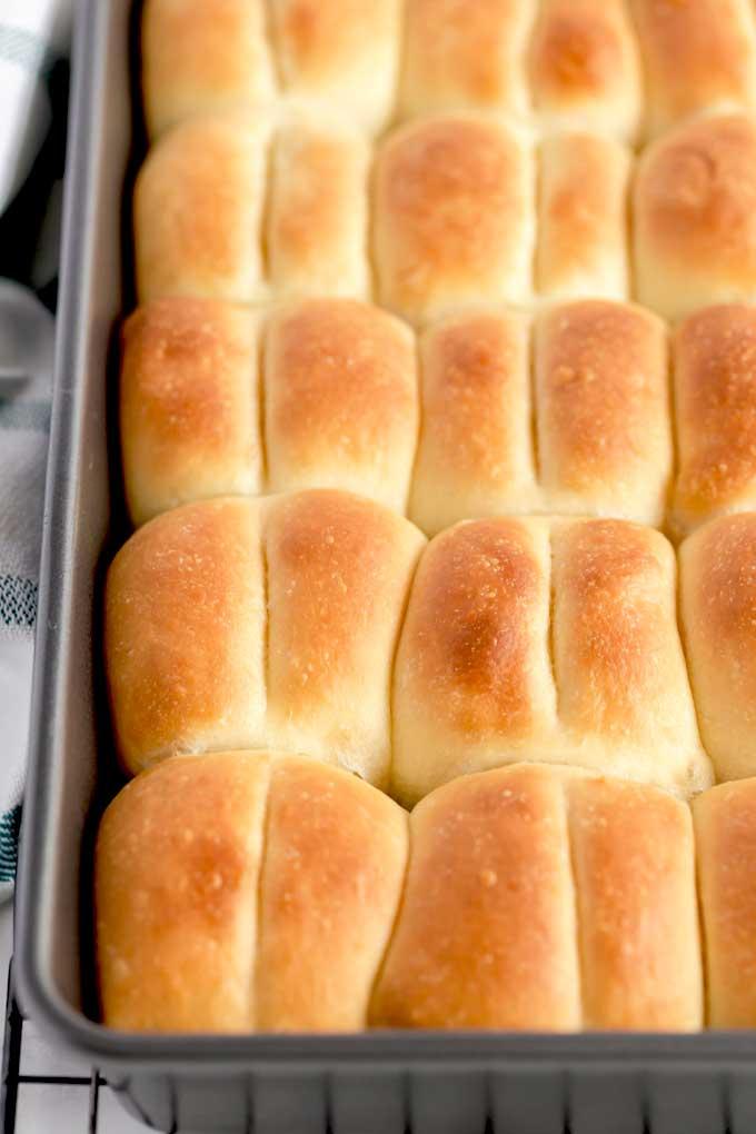 Soft bread rolls in a baking pan