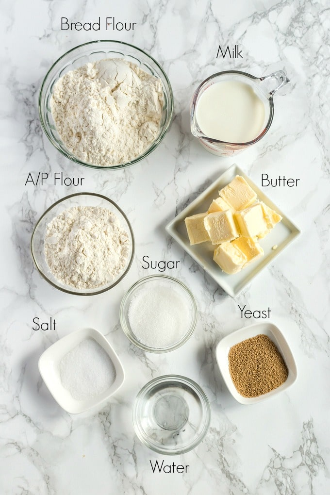 Ingredients to make homemade Parker House Rolls