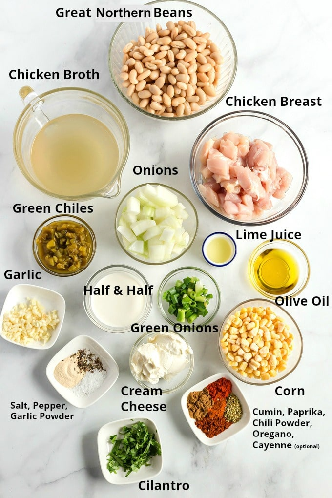 Ingredients to make this recipe for  chicken chili in small bowls.