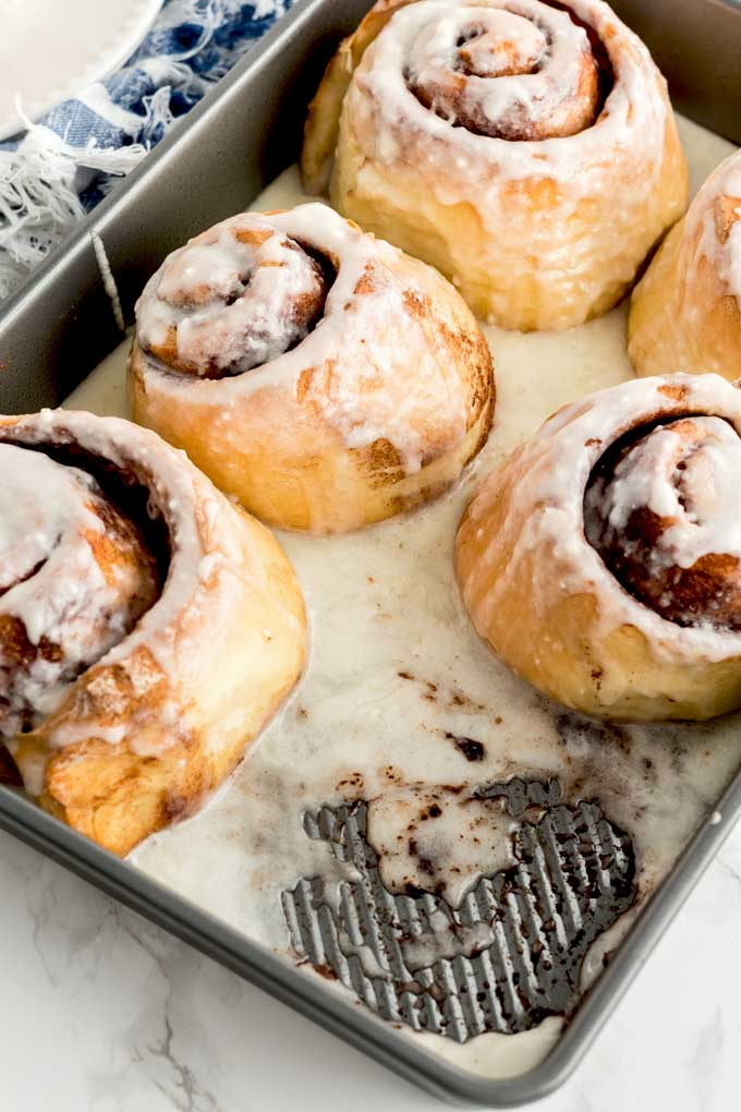 Cinnamon buns baked in a pan