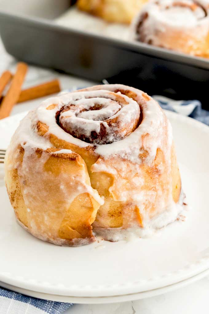 A cinnamon roll on a plate.