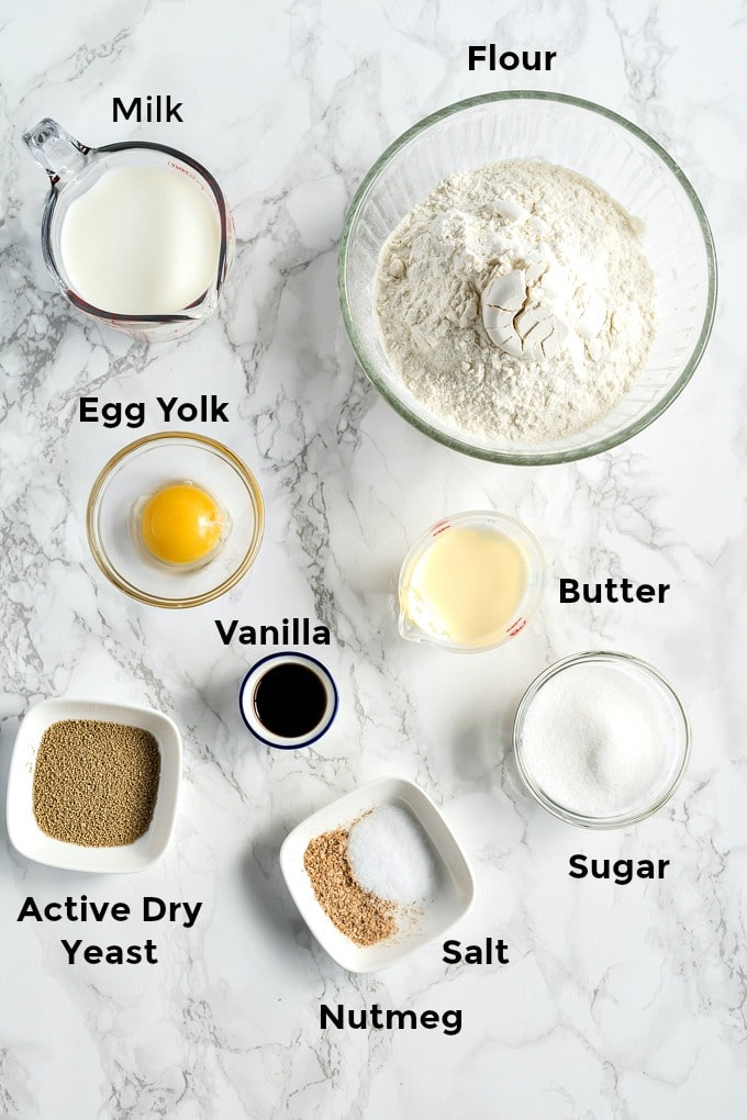 Ingredients to make yeast dough for sweet rolls