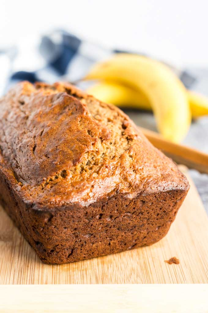 Whole loaf of homemade banana bread
