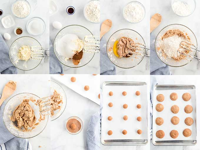 Collage of photos showing how to make snickerdoodles