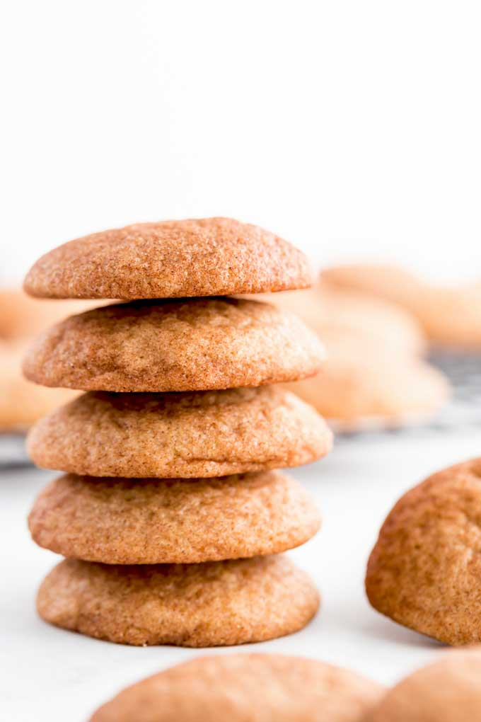 Stack of cinnamon sugar dusted cookies