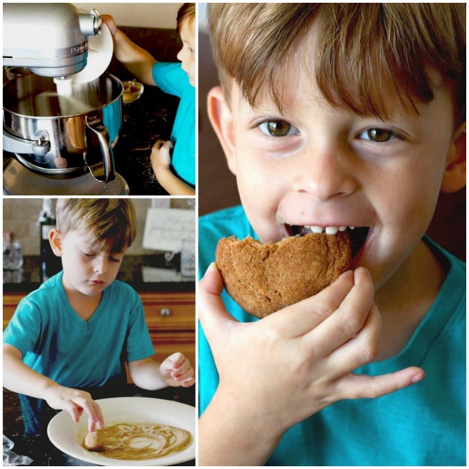 Kid making and eating cookies