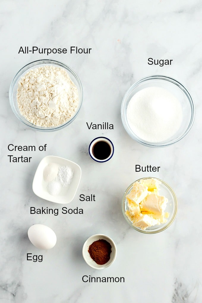 Ingredients to make snickerdoodles