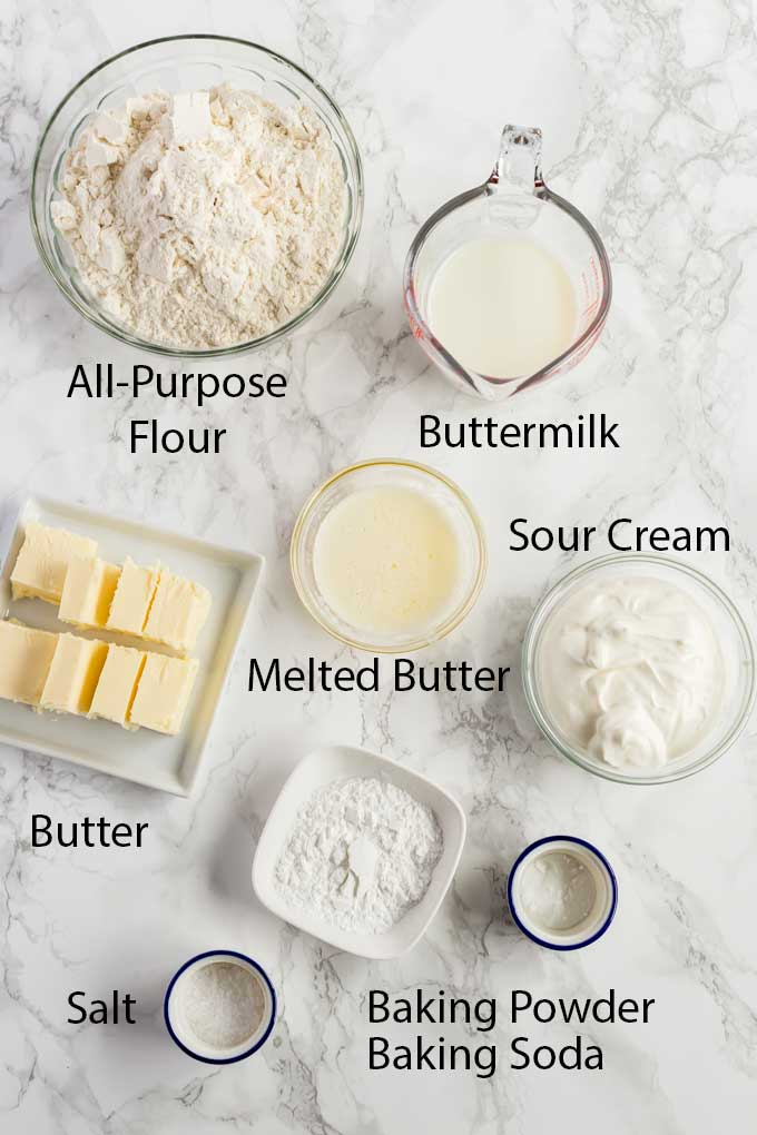 Ingredients for making homemade  biscuits