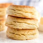 Biscuits stack on a white marble counter