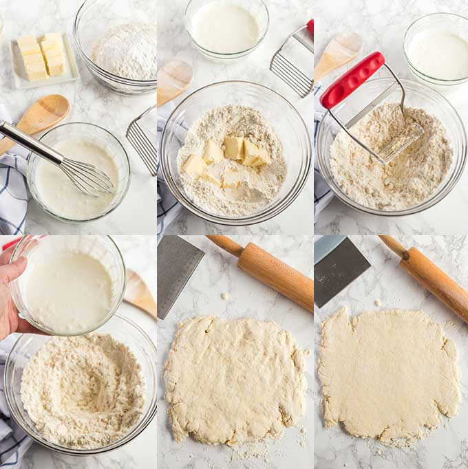 Step by step photos on how to mix and roll biscuit dough.