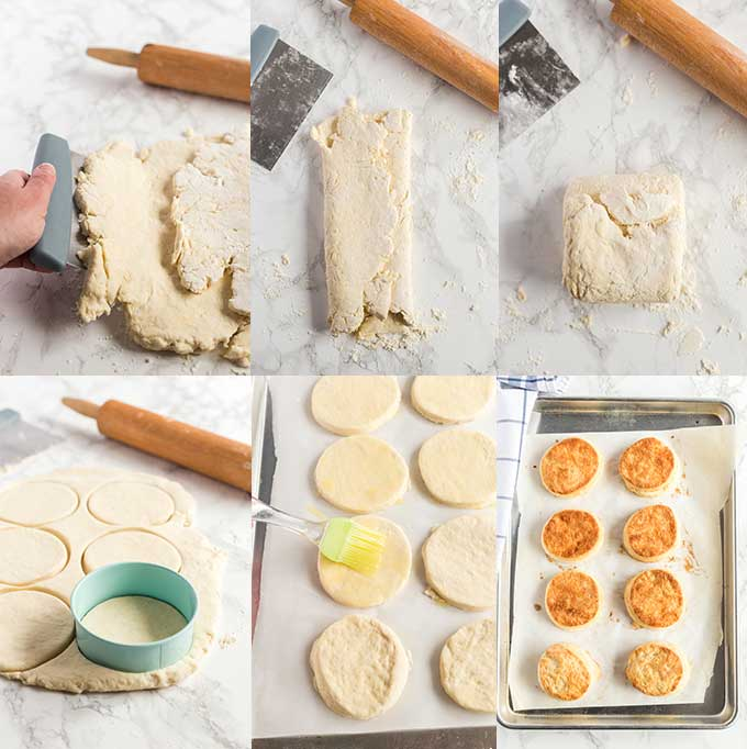Step by step photos on how to make biscuits.
