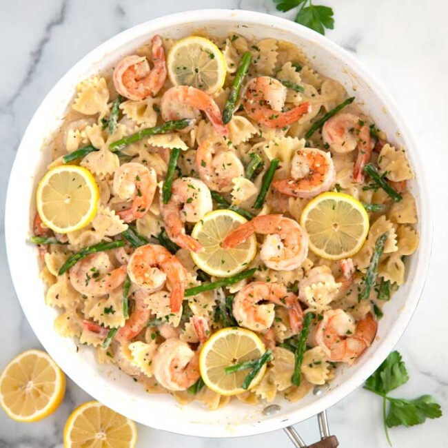 Shrimp and parmesan pasta in a bowl