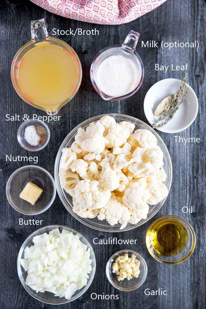 Ingredients to make cauliflower soup.