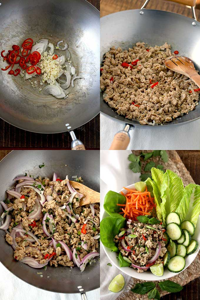 Step by step photos on how to make Larb (Laap)