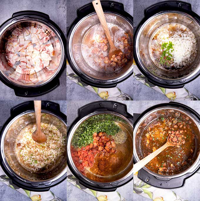 Step by step photos for making the best Charro Beans in the instant pot.