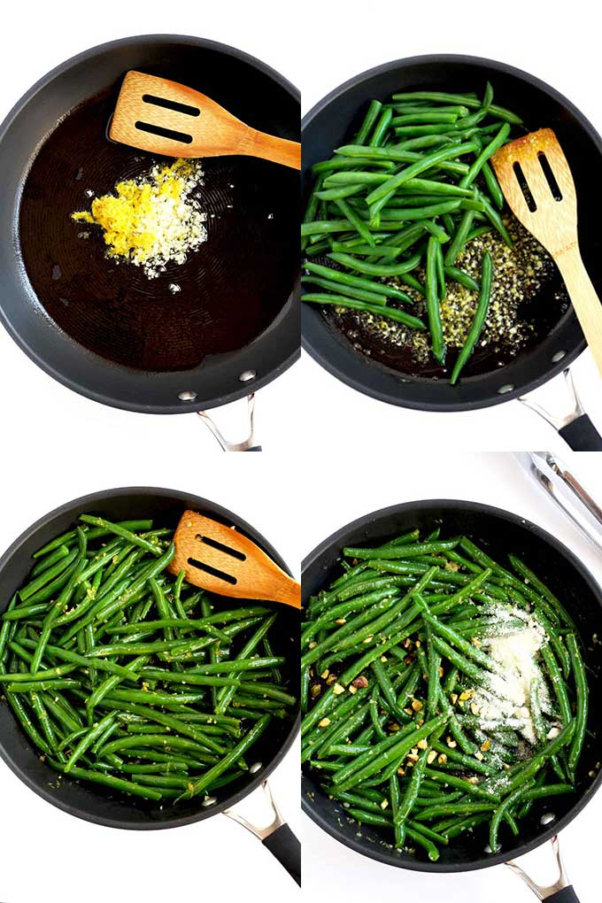 Step by step photos of sauteeing green beans in a skillet