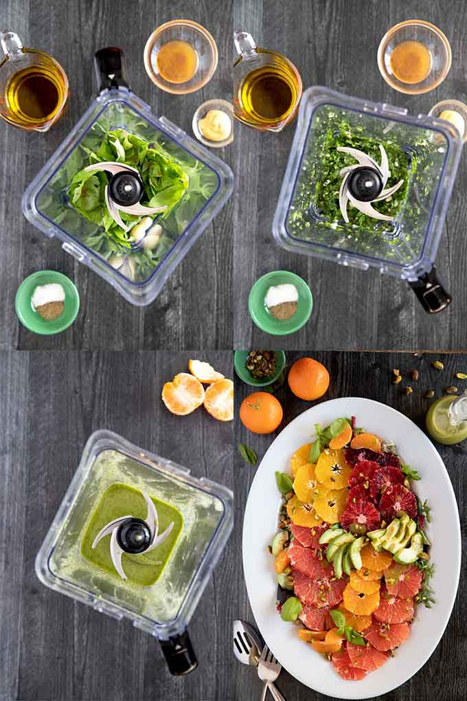 Step By Step Photos For Making This Easy and Quick Citrus Avocado Salad with the best Pesto Like Basil Vinaigrette