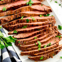 Perfectly tender sliced Lseared and oven baked to perfectionondon broil