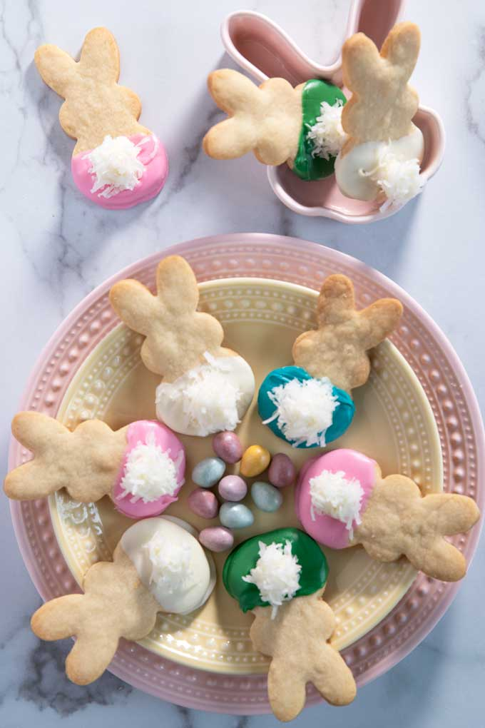 the best and cutest Bunny Easter Cookies on a plate.