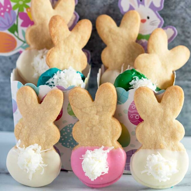 Shortbread Easter Bunny Cookies with Fluffy Tails On a Countertop