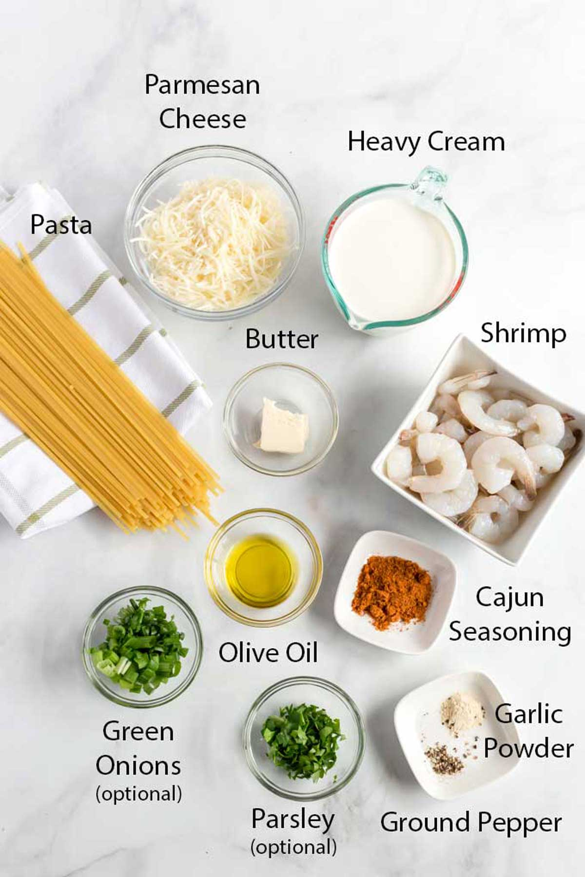 Ingredients to Make Cajun Shrimp Pasta Alfredo
