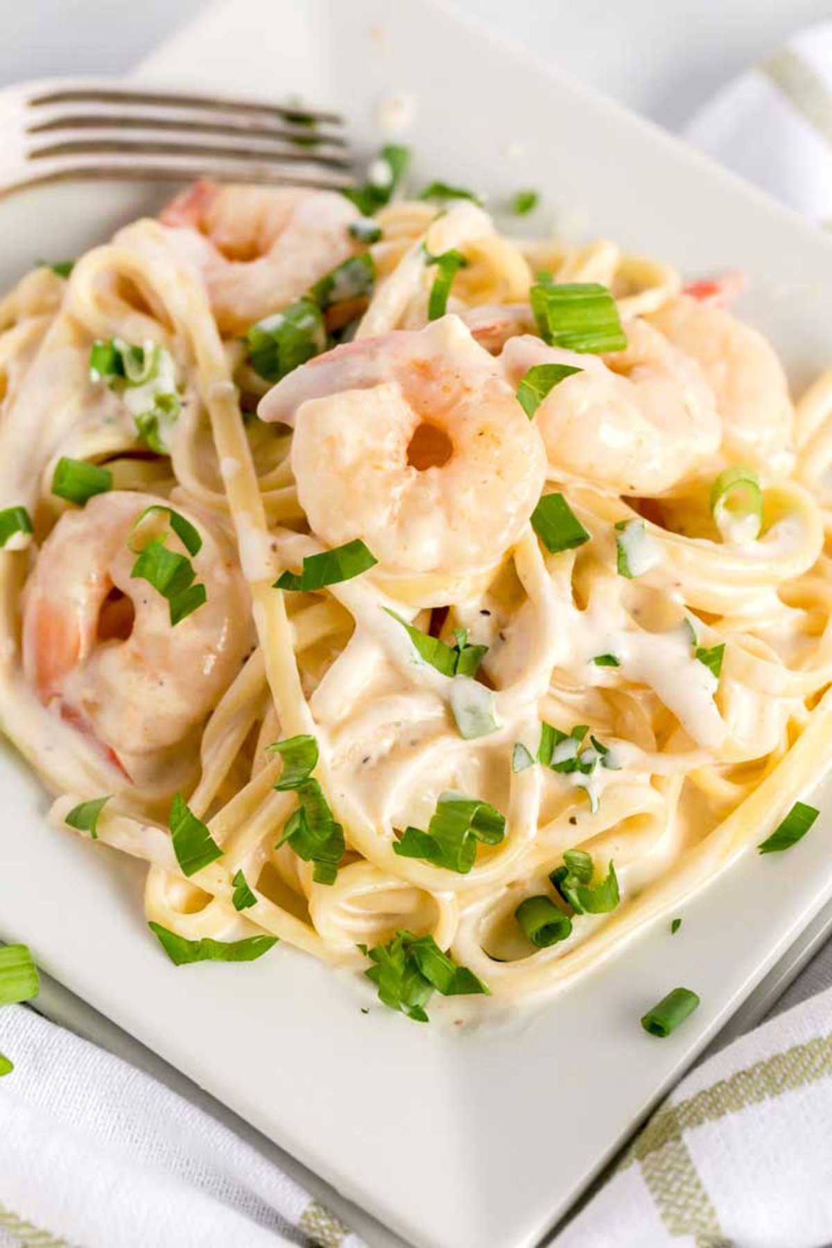 Cajun Shrimp and Pasta tossed in a creamy sauce on a white plate.