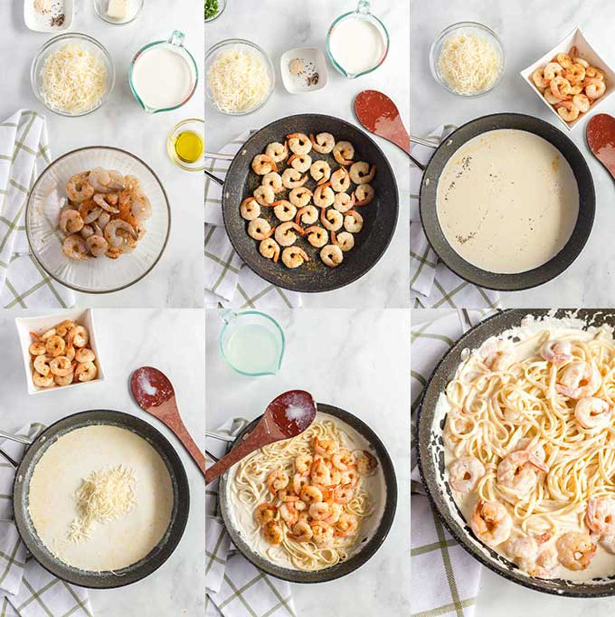 Step By Step photos for making Cajun Shrimp Alfredo Pasta