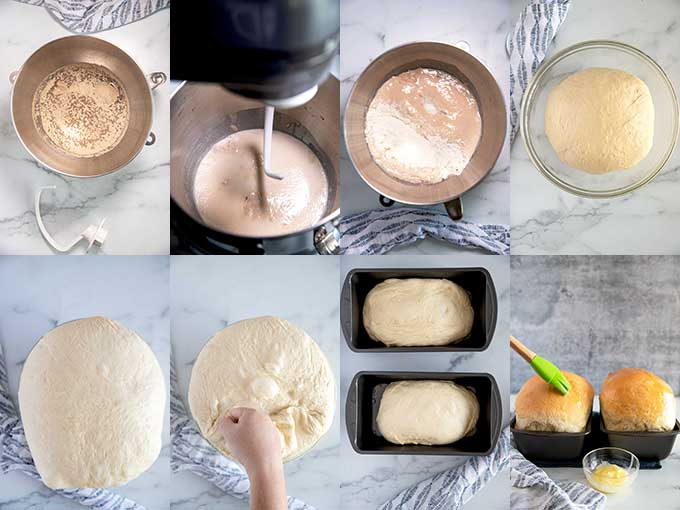 Step by step photos on how to make white bread at home.