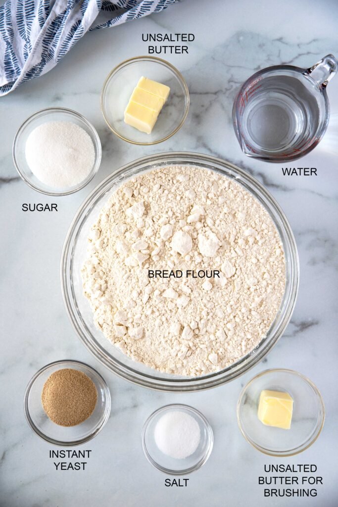Ingredients to make this simple homemade white bread recipe.
