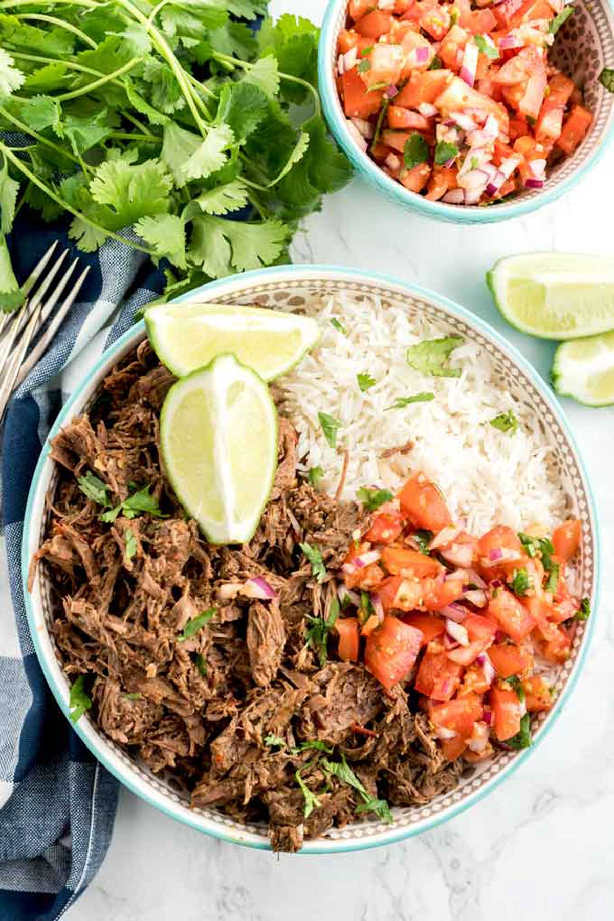 Chipotle Barbacoa Bowl with shredded beef, rice and pico de gallo.