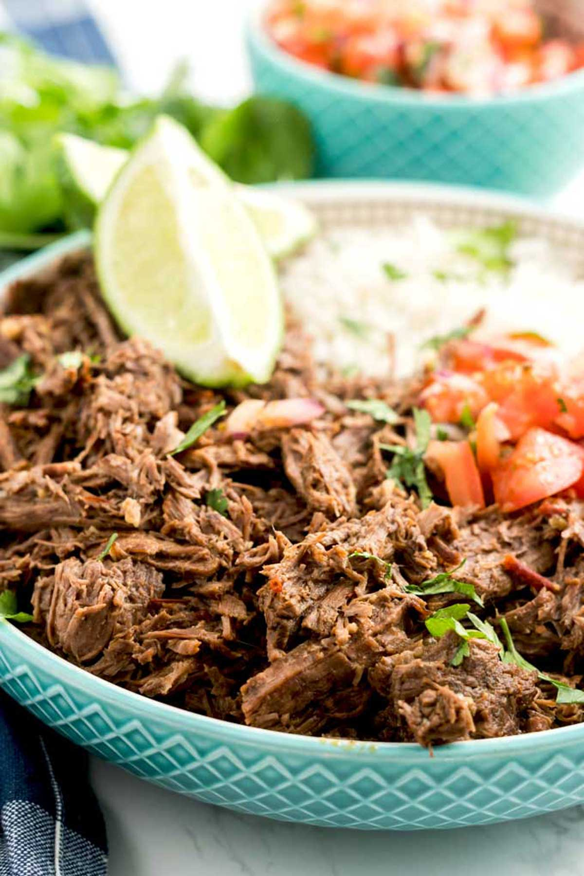Mexican Shredded Beef or Chipotle Barbacoa in a bowl