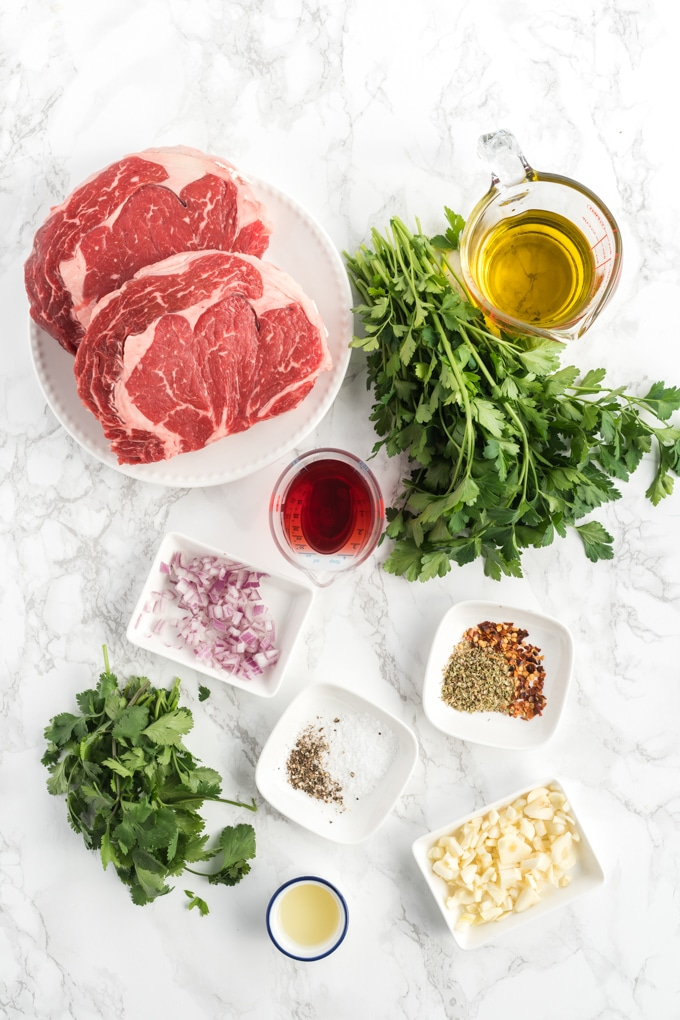 Ingredients to Make Grilled Steak and Chimichurri sauce,