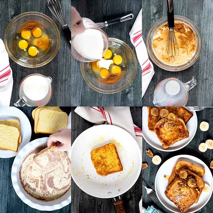 Step by step photos for making basic Brioche French Toast  perfectly every time.