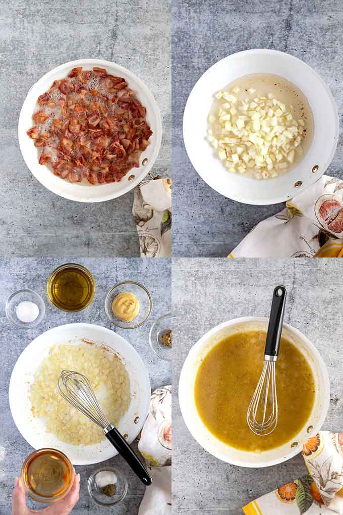 Step By Step Photos For Making The Dressing For German Potatoes Salad
