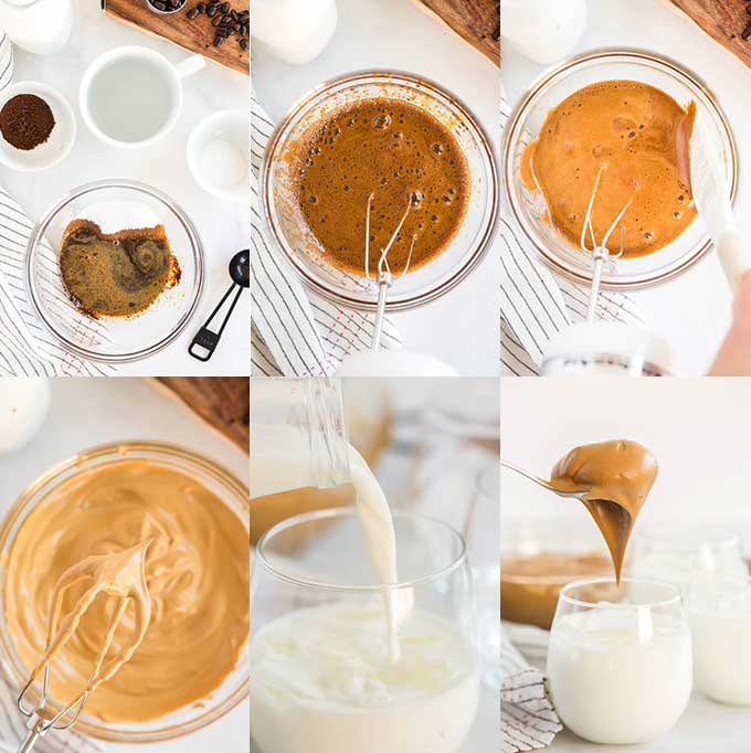 Step by step photos for making whipped coffee
