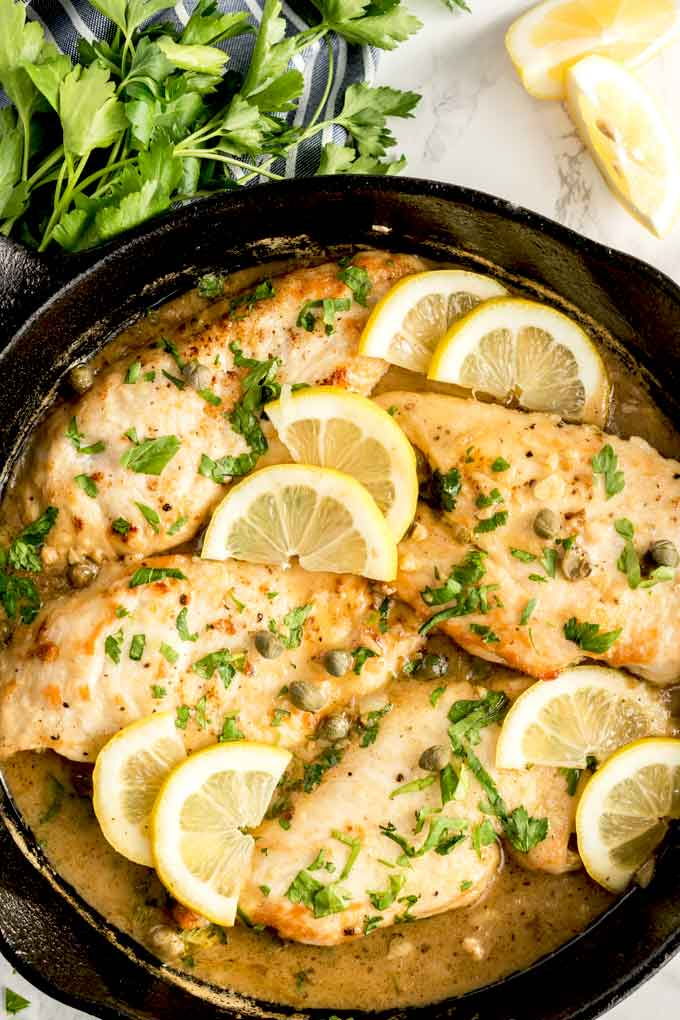 Easy Chicken Picata in a skillet