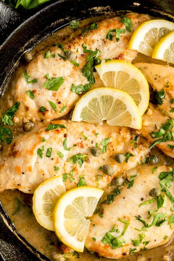 Chicken Picatta in a skillet.