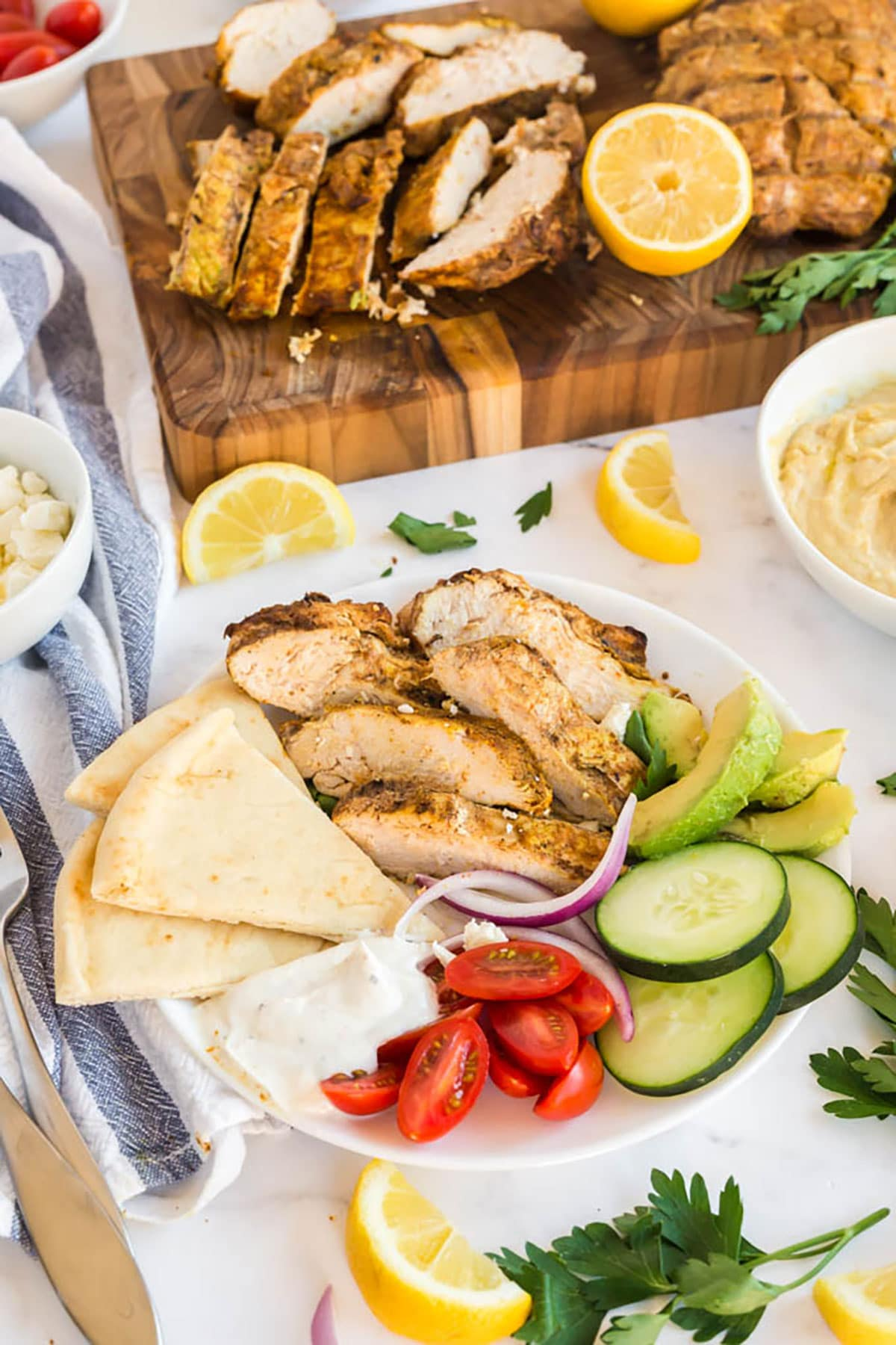 Chicken Shawarma Plate with Yogurt Garlic Sauce, Pita Bread and Fresh Veggies