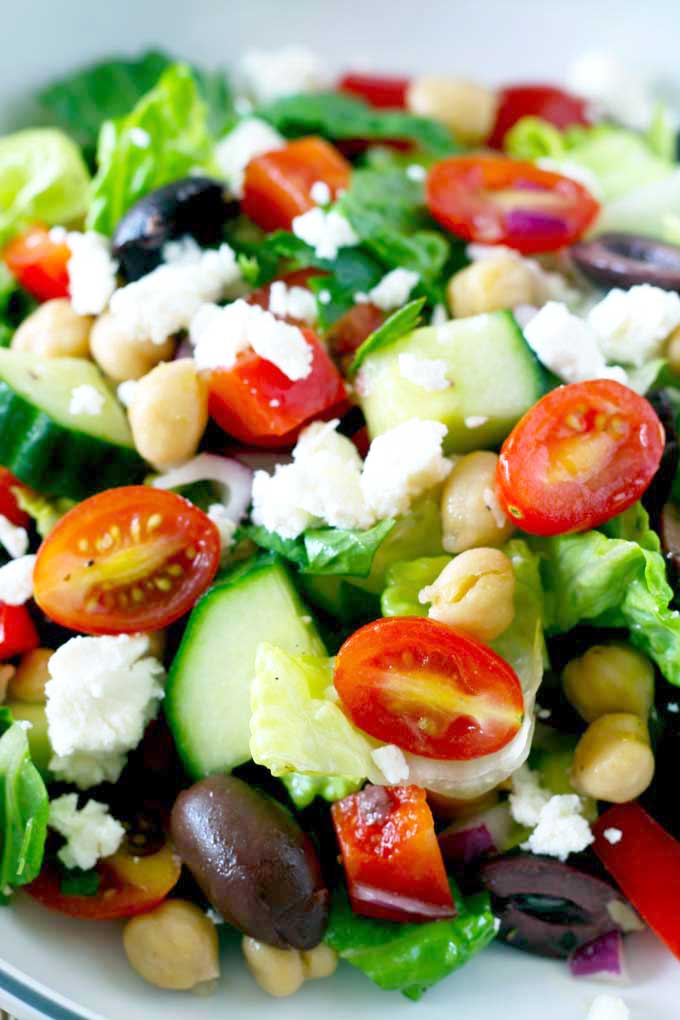 Close up view of Chopped Greek Salad in a bowl.