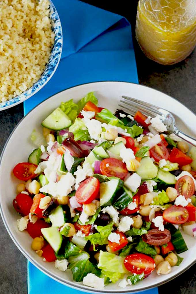 The best Chopped Greek salad served in a bowl.