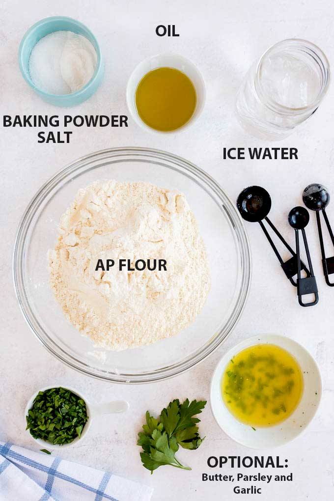Ingredients to make Flatbread and optional topping ingredients.
