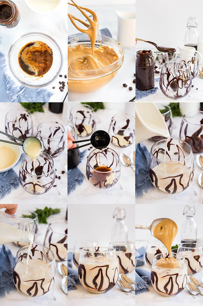 Step by step photo collage for making whipped coffee with kahlua